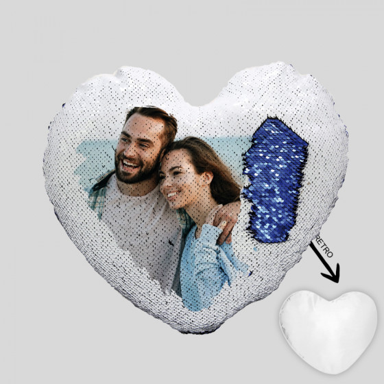 Federe Sequins Heart 40X40 cm.
