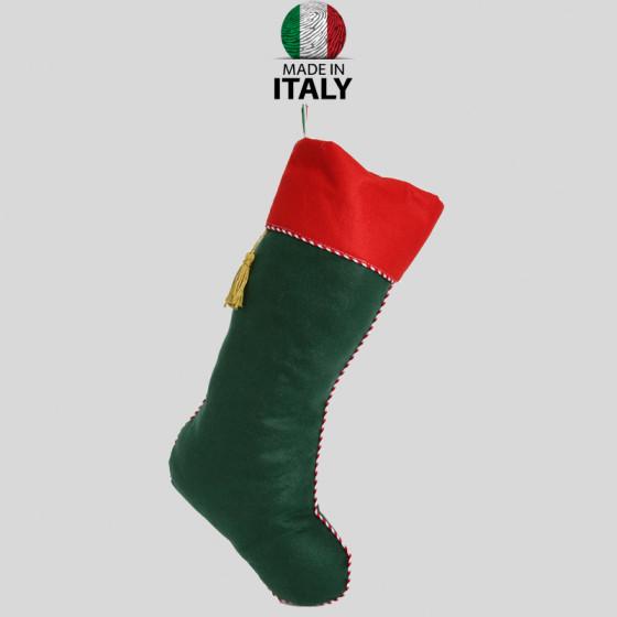 Befana Sock in Green-Red Felt